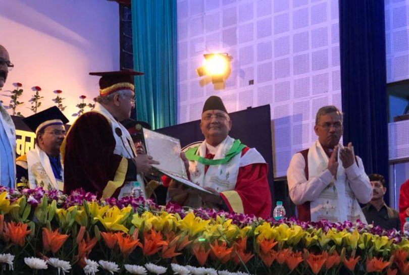 PM Oli receives honorary doctorate from Indian university
